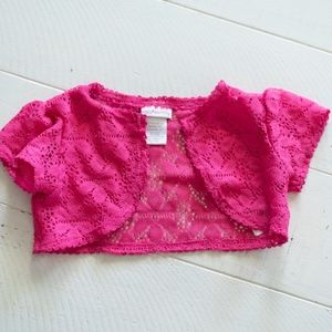 Youngland Girls Pink Lace Bolero